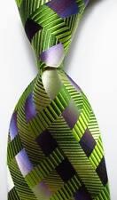 New Classic Checks Green Purple White JACQUARD WOVEN 100% Silk Men's Tie Necktie