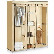 Triple Canvas Wardrobe Clothes Rack Hanging Rail Storage Shelves Cupboard Beige