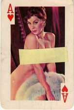 A ASSO di CUORI Gaiety Brand 54 Nude Models Color  Playing Cards 1960's