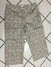 Christopher &  Banks Taupe  Floral Cropped  Capri Pants_Misses 8