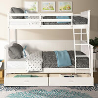 White Twin Over Full Bunk Bed Wooden Frame Bed W/Ladders and two Storage Drawers