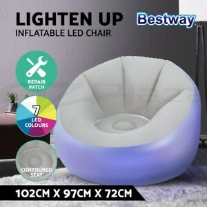 Bestway Inflatable Seat Sofa LED Light Chair Outdoor Lounge Cruiser