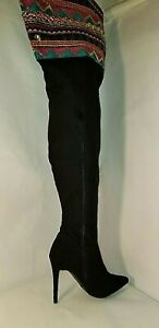 Anne Michelle Womens THIGH HIGH SZ 6 Black Suede w Gold Sequins Ribbon BOOTS
