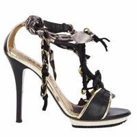 54112 auth LANVIN black leather CHAIN Platform Sandals Shoes 38