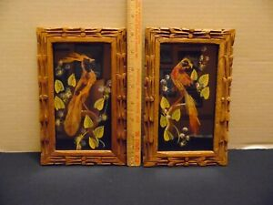 Two Vintage Mexican Feather Art Painted Picture Carved Frame