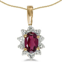 "10k Yellow Gold Oval Rhodolite Garnet And Diamond Pendant with 18"" Chain"