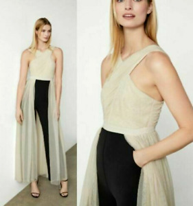 NEW BCBG MAX AZRIA EVE TULLE OVERLAY WALK-TROUGH JUMPSUIT ALMOND SIZE S $398.00