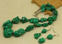"bold gradual geen turquoise nugget necklace/earring set/19"" length(y261-w3.5)"