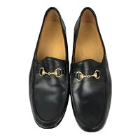 COLE HAAN Men's Black Leather Gold Horsebit Loafer Size 15 M Made In Italy