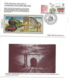 RAILWAY SPECIAL COVER; BRUNEL 125 ANNIVERSARY OF DEATH; SWINDON SPECIAL CANCEL.