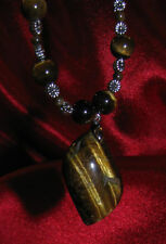 Tiger Eye natural stone pendant necklace rock healing jewelry  earthy flower fun