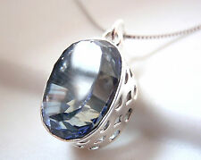 Brilliant Cut Blue Mystic Topaz Pendant 925 Sterling Silver Filigree Oval New