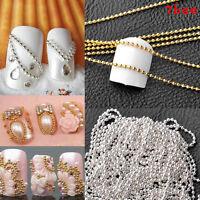 New Chic 3-5M Beads Line Chain For Acrylic Nail Art 3D False Tips DIY Decor