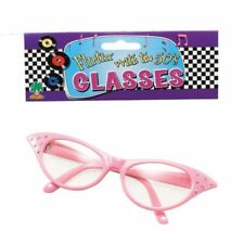 Ladies Pink 1950's Style Glasses With Diamantes Fancy Dress Grease