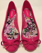 New Retro Vintage Pinup Lolita Soda Bright Hot Pink Plastic Bow Ballet Flats 10