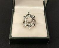 Silver Tone Ethnic Ring Moonstone Style Costume Jewellery