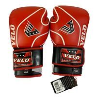 VELO Pro-Fight Leather Boxing Gloves 14 oz Red & Black MMA Muay Thai