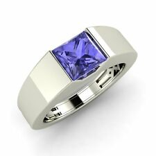 Certified Men's 18K Solid White Gold Real Tanzanite Wedding Ring -Free Engraving