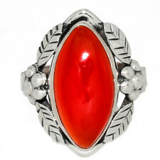 Leaves - Carnelian 925 Sterling Silver Jewelry Ring s.7 AR175356