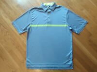 Footjoy Golf Polo Shirt Mens Large Blue Green Short Sleeve Performance Stretch