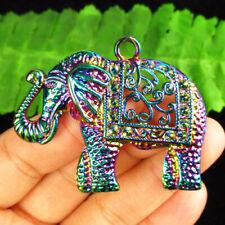 Pendant Bead 52x42x2mm R53117 Rainbow Carved Tibetan silver Elephant
