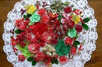 Flower & Embellishment Mixture CHRISTMAS Colours 1to8cm 100 items Mixed brandsMH