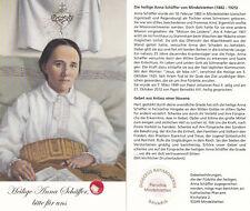 Gedenkbild der heligen Anna Schäffer mit Stoffreliquie (18. 2. 1882 - 5. 10. 25)