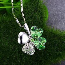 Women's Charm Crystal Lucky Four Leaf Clover Heart Pendant Necklace Chain