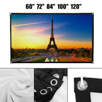"""60/80/100"""" Foldable Projector Screen 16:9 White Matte 3D HD Home Cinema Theater"""