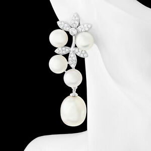 UNHEATED NATURAL 12X10MM FRESHWATER PEARL & WHITE CZ SOLID SILVER 925 EARRING