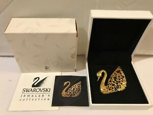 Swarovski Crystal Large Gold Centenary Swan Pin Brooch With Multicolored Stones