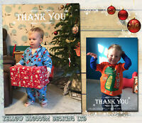 10 Personalised Xmas Christmas Thank You PHOTO Cards Notes N38 Kids Boys Girls