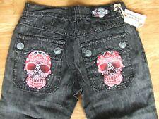 BNWT Laguna Beach SKULL ATTACK - Sunset Beach Straight Black Denim Jeans