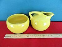 Vintage Mustard Yellow Pottery Cream Milk and Sugar Set Individual Service