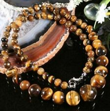 Natural 6-12mm Genuine Yellow Tiger's Eye Gemstone Round Beads Necklace 18""