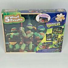 Nickelodeon Teenage Mutant Ninja Turtles 5 Wood Puzzles Pack - Brand New, Sealed