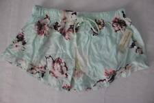 NEW Womens Sleep Shorts Pajamas Size Medium Light Blue Floral Lounge PJs Bottoms