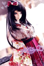 "1/4 7-8"" 18-20cm Bjd Wig Hair Doll Long Ater Black Special Arc Layered Skill J-5"