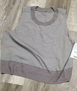 ATHLETA Zephyr Shell Tank Top Large Gray NWT #291879 Featherweight Stretch