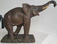 Magnifique TERRE CUITE Signe XXe Le BARRISSEMENT de l'ELEPHANT Patine SL Art