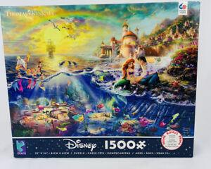 "Disney The Little Mermaid Thomas Kinkade 1500 Piece Puzzle & Poster 32""x24"" NEW"