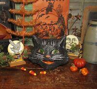 Antique Vtg Style Halloween Paper Mache Black Sassy Smiley Happy Cat Lantern