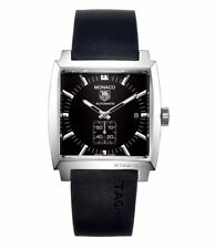 AUTHENTIC TAG HEUER MONACO WW2110.FT6005  AUTOMATIC BLACK RUBBER MENS WATCH
