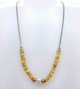 New KENDRA SCOTT brand  Lila Vintage Silver Strand Necklace Sil Natural Pearl