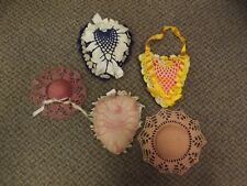 "Lot of 5 Vtg Hand Crocheted Hearts & Hats 6-7"" Pin Cushions Sewing Pin Pillows"
