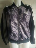 Adidas Originals Track Top Black Women's Jacket Size 12 Animal Print