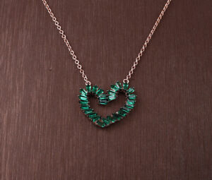 HEART EMERALD ROSE GOLD COLORED OVER .925 STERLING SILVER NECKLACE #33864