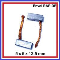 Lot de 2 Balais de Charbon 5 x 5 x 12.5 mm Moteur perceuse, outillage electropor