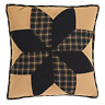 "DAKOTA STAR Quilted Filled Pillow Black/Tan Rustic Farmhouse Primitive 16""x 16"""