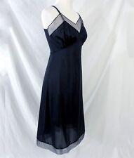 Vanity Fair Size 36 Full Navy Blue Slip Vintage 1950s Sheer Illusion Made in USA